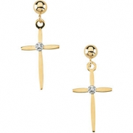 14kt Yellow Pair .01CTW Diamond Cross and Ball Earring