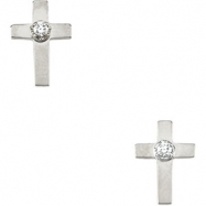 14kt White PAIR 07.00X05.00 MM Polished CROSS EARRING W/DIAMOND W/BACK