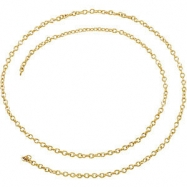 Yellow Gold Filled BULK BY INCH Polished SOLID CABLE CHAIN