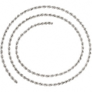 14kt White BULK BY INCH Polished 02.50 MM ROPE CHAIN