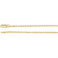 14kt White BULK BY INCH Polished 01.50 MM ROPE CHAIN