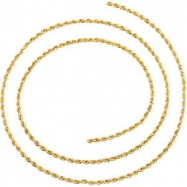 14kt Yellow BULK BY INCH Polished 01.50 MM ROPE CHAIN