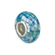 Sterling Silver 14.00X7.00MM Polished KERA SKY BLUE MOSAIC MOP BEAD