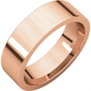 14kt Rose 06.00 mm Flat Comfort Fit Band