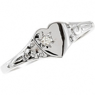 Sterling Silver SIZE 03.00 Polished YOUTH HEART W/DIAMOND