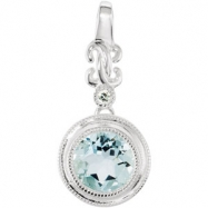 14kt White Aquamarine Genuine Aquamarine and .01CTW GH/I1 Diamond Pendant