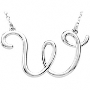 """Sterling Silver W 16"""" Polished SCRIPT INITIAL NECKLACE"""