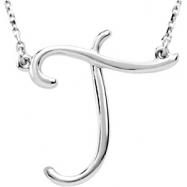 """Sterling Silver T 16"""" Polished SCRIPT INITIAL NECKLACE"""