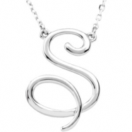 """Sterling Silver S 16"""" Polished SCRIPT INITIAL NECKLACE"""