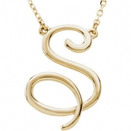 "14kt Yellow S 16"" Polished SCRIPT INITIAL NECKLACE"