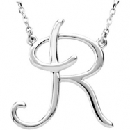 "Sterling Silver R 16"" Polished SCRIPT INITIAL NECKLACE"