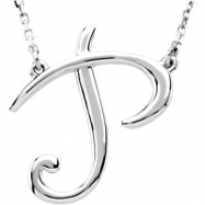 "Sterling Silver P 16"" Polished SCRIPT INITIAL NECKLACE"