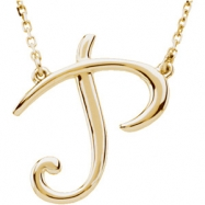 "14kt Yellow P 16"" Polished SCRIPT INITIAL NECKLACE"