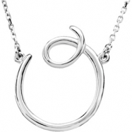 """14kt White O 16"""" Polished SCRIPT INITIAL NECKLACE"""