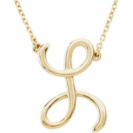 "14kt Yellow L 16"" Polished SCRIPT INITIAL NECKLACE"