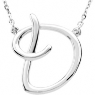 "Sterling Silver D 16"" Polished SCRIPT INITIAL NECKLACE"