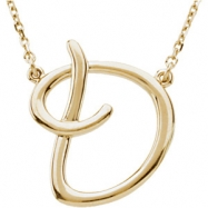 "14kt Yellow D 16"" Polished SCRIPT INITIAL NECKLACE"