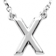 "Sterling Silver X 16"" Polished BLOCK INITIAL NECKLACE"
