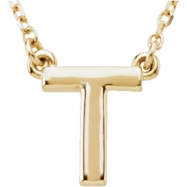 "14kt Yellow T 16"" Polished BLOCK INITIAL NECKLACE"