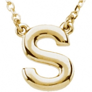 "14kt Yellow S 16"" Polished BLOCK INITIAL NECKLACE"