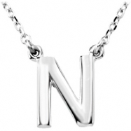 "Sterling Silver N 16"" Polished BLOCK INITIAL NECKLACE"