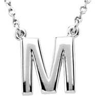 "Sterling Silver M 16"" Polished BLOCK INITIAL NECKLACE"