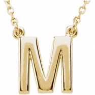 "14kt Yellow M 16"" Polished BLOCK INITIAL NECKLACE"