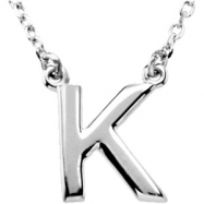 "Sterling Silver K 16"" Polished 16"" BLOCK INITIAL NECKLACE"