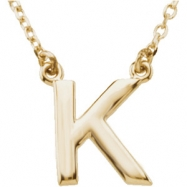 "14kt Yellow K 16"" Polished BLOCK INITIAL NECKLACE"