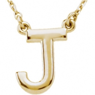 "14kt Yellow J 16"" Polished BLOCK INITIAL NECKLACE"