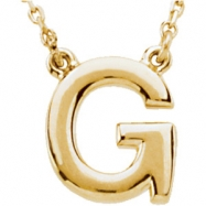 "14kt Yellow G 16"" Polished BLOCK INITIAL NECKLACE"
