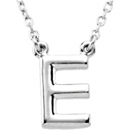 "Sterling Silver E 16"" Polished BLOCK INITIAL NECKLACE"