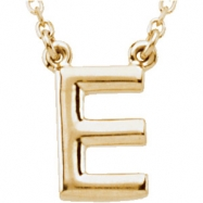 "14kt Yellow E 16"" Polished BLOCK INITIAL NECKLACE"