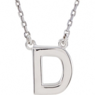 "Sterling Silver D 16"" Polished BLOCK INITIAL NECKLACE"