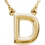 "14kt Yellow D 16"" Polished BLOCK INITIAL NECKLACE"