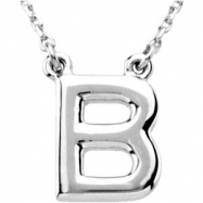 """Sterling Silver B 16"""" Polished BLOCK INITIAL NECKLACE"""