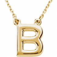 "14kt Yellow B 16"" Polished BLOCK INITIAL NECKLACE"