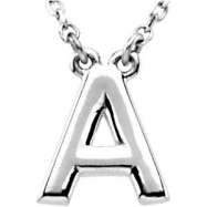 "Sterling Silver A 16"" Polished BLOCK INITIAL NECKLACE"