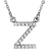 14kt White Z Diamond 0.1 1/10CTW Diamond Necklace