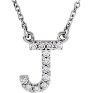 14kt White J Diamond 0.125 1/8CTW Diamond Necklace
