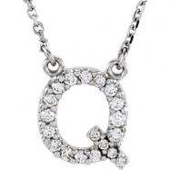 14kt White Q Diamond 0.166666666666667 1/6CTW Diamond Necklace