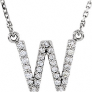 14kt White W Diamond 0.166666666666667 1/6CTW Diamond Necklace