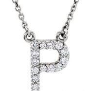 14kt White P Diamond 0.125 1/8CTW Diamond Necklace