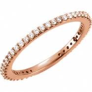 14kt Rose Band 07.00 Complete with Stone ROUND VARIOUS Polished 1/3 CTW DIAMOND BAND
