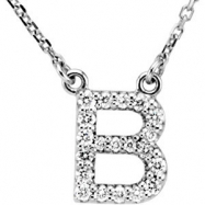 14kt White B Diamond 0.166666666666667 1/6CTW Diamond Necklace