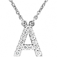 14kt White A Diamond 0.125 1/8CTW Diamond Necklace