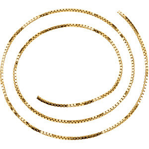 14kt Yellow BULK BY INCH Polished SOLID BOX CHAIN. Price: $31.06