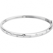14kt White 1/2 CTTW Polished DIAMOND BANGLE BRACELET