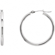 14kt White PAIR 15.00 MM Polished HOOP EARRING