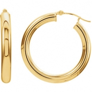 14kt Yellow Earring Complete No Setting 25.00 mm Pair Polished Tube Hoop Earrings